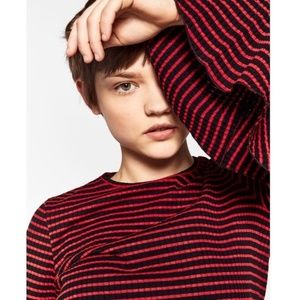 NWOT Zara Striped Ribbed Bell Sleeve Knit Top M